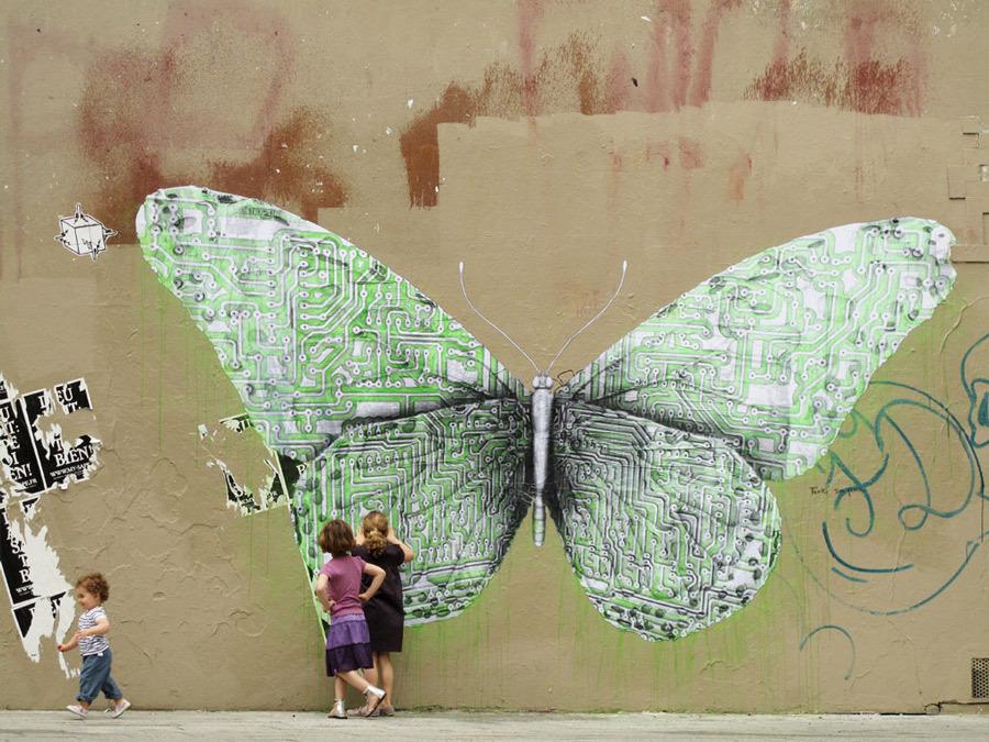 8 amazing street artworks butterflies viva la vida. Black Bedroom Furniture Sets. Home Design Ideas