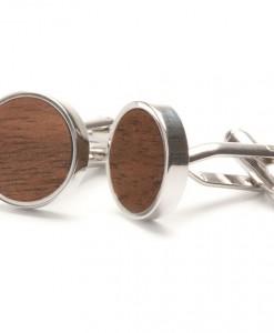 rStraight Walnut Wooden Cufflinks