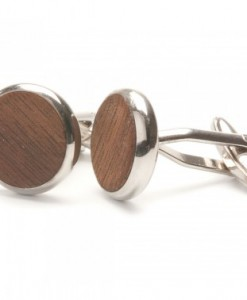 rRound Walnut Wooden Cufflinks
