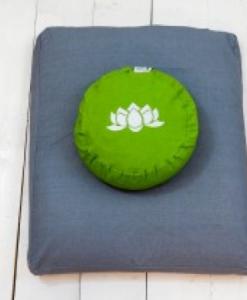 meditatieset met mat en kussen -eco groen op grijs