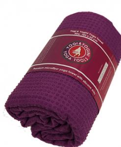 Yogini Yoga handdoek siliconen antislip paars- Hot & Power Yoga