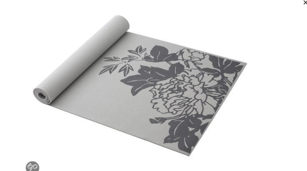 Yogamat Grijs met mooie bloemenprint